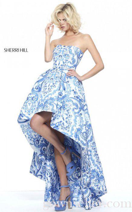 Sherri Hill 51097 Ivory Blue Print Strapless A Line Prom Dress