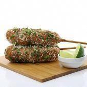 Chorizo Elote Corn Dogs Recipe | DudeFoods.com  #chorizo #CornDogs #dudefoods #elote #recipe #chickenwraps