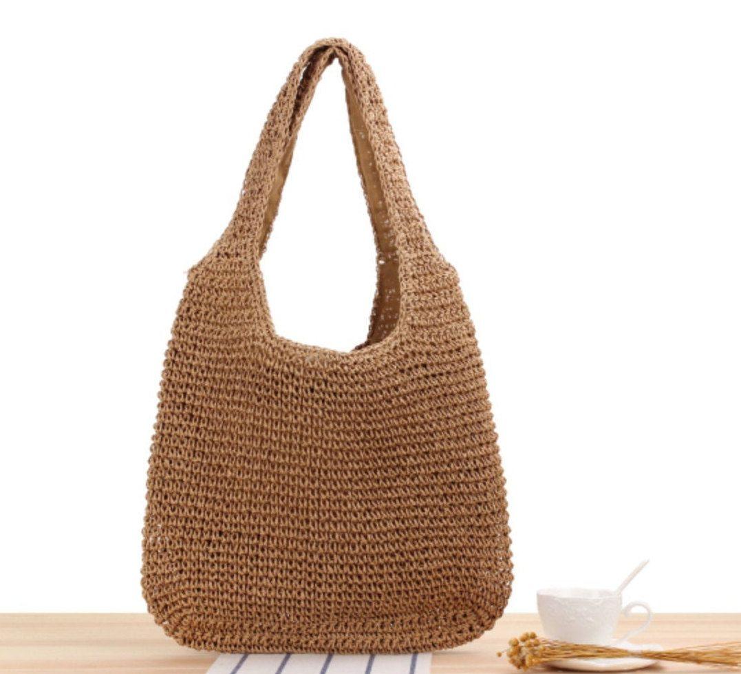 Womens Lightweight Handmade Handbag Large Capacity Crochet Shoulder Summer Bag