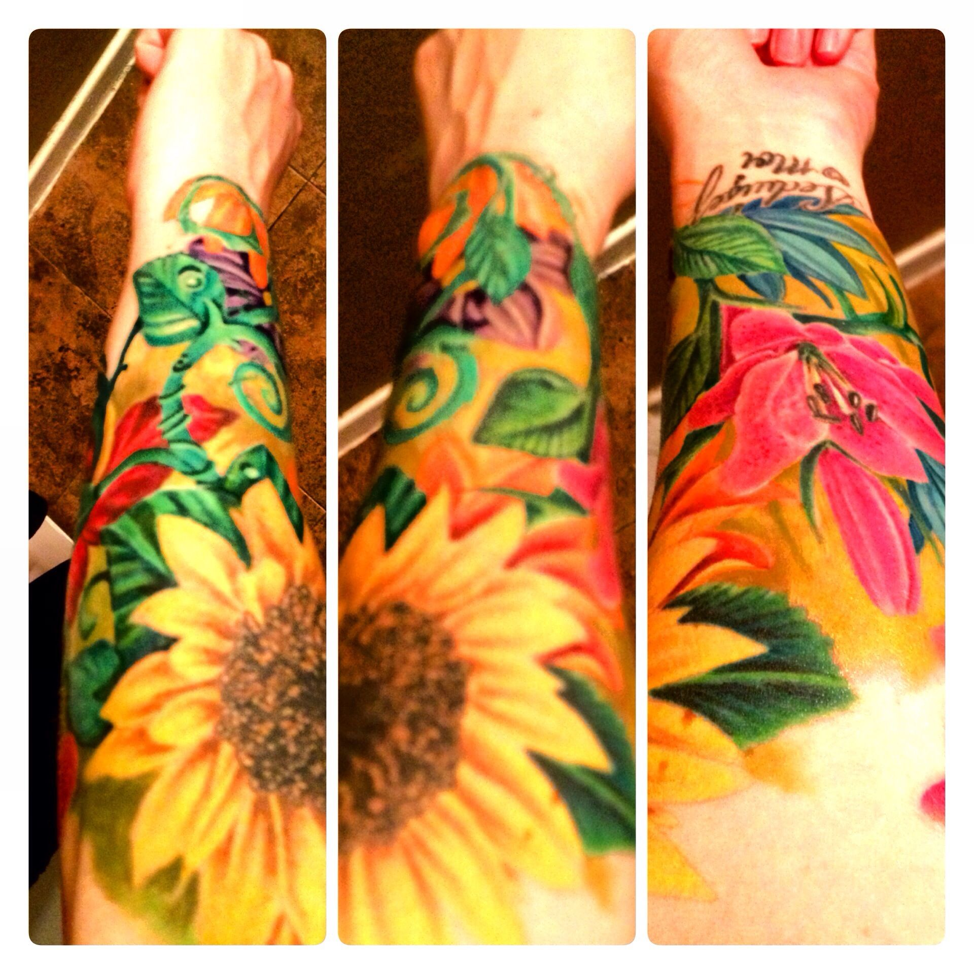 80 Bright Color Tattoo Design Ideas: Floral Tattoo. Flower Sleeve. Bright Colors