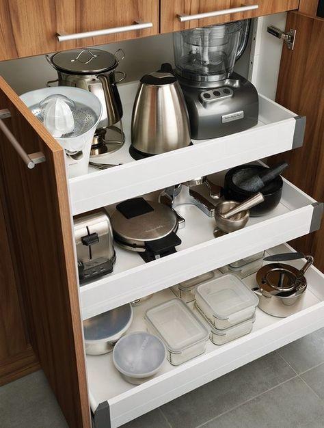 A continuación te mostraros algunas ingeniosas ideas para organizar los  pequeños electrodomésticos en la cocina y no perder el poco espacio que  tienes. f8a5c97bf1ee