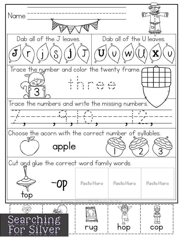 Kindergarten October Worksheets