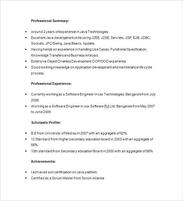 Resume Format Java ResumeFormat Architect Sample