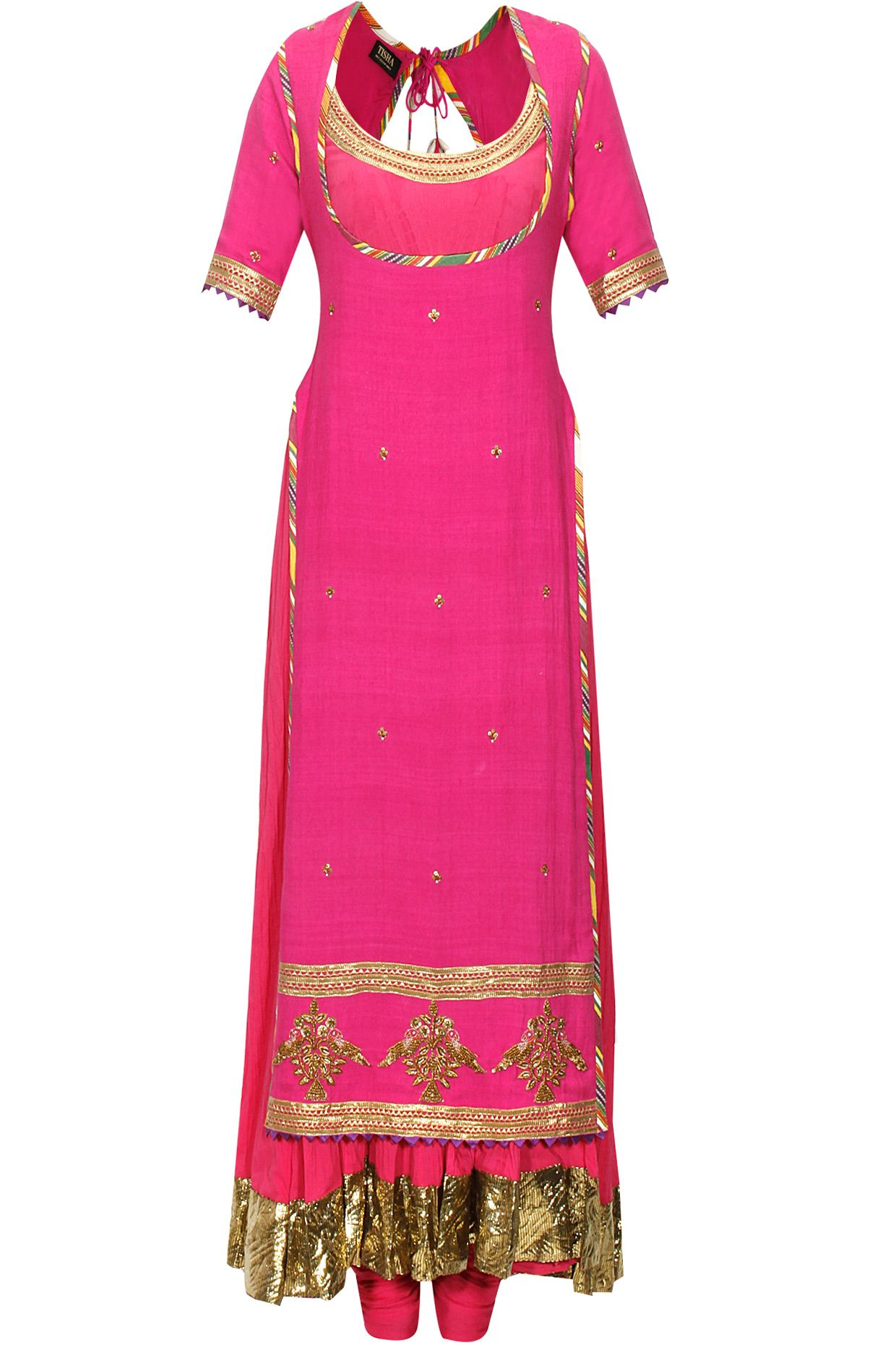Rani pink crushed anarkali set with embroidered chola available only ...