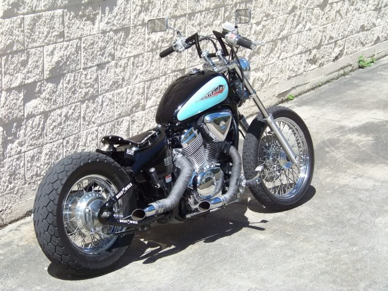 Honda Shadow Vt600 Vlx Custom With Fonrt Rear Fenders Removed Solo Seat Pan Stock Black Light Blue Tank Exhaust Lers And Curved