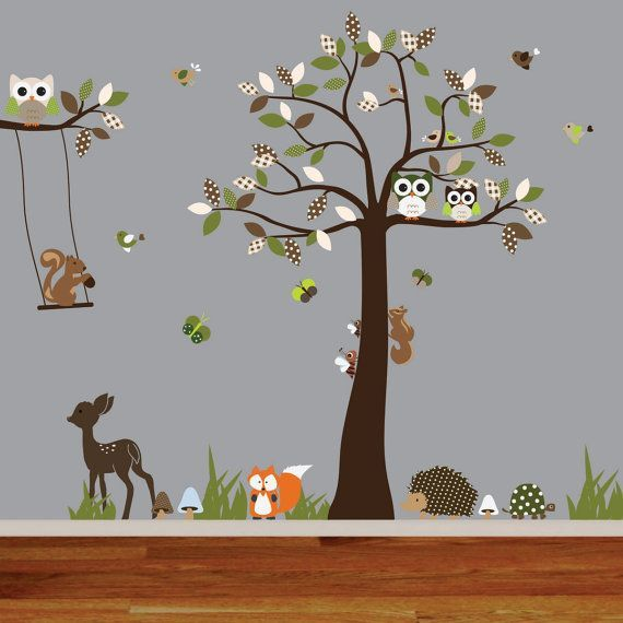 vinyl wall decal woodland nursery wall decal tree decal deer fox hedgehog squirrel bird and owl. Black Bedroom Furniture Sets. Home Design Ideas