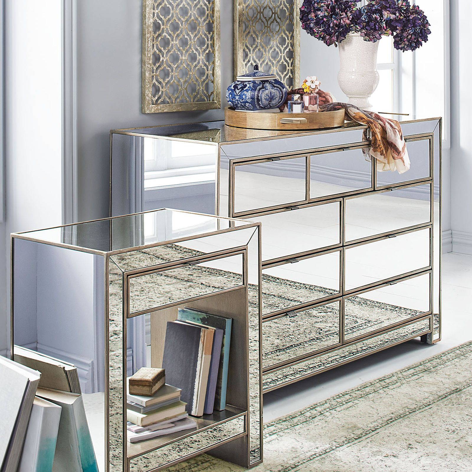 Awesome Alexa Mirrored Nightstand Dresser Bedroom Set Dressers Home Remodeling Inspirations Genioncuboardxyz