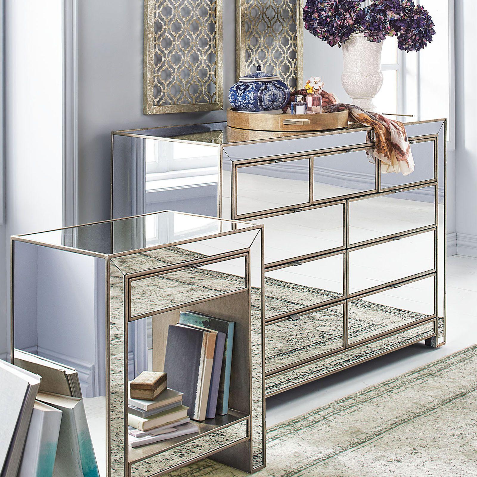 Alexa Mirrored Nightstand & Dresser Bedroom Set | Nightstands ...