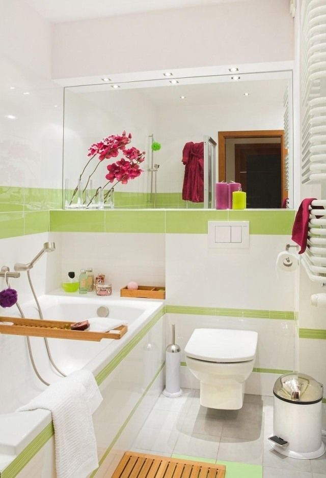 kleines bad einrichten ideen farben wei grn holz akzente - Einrichtung Design Badezimmer