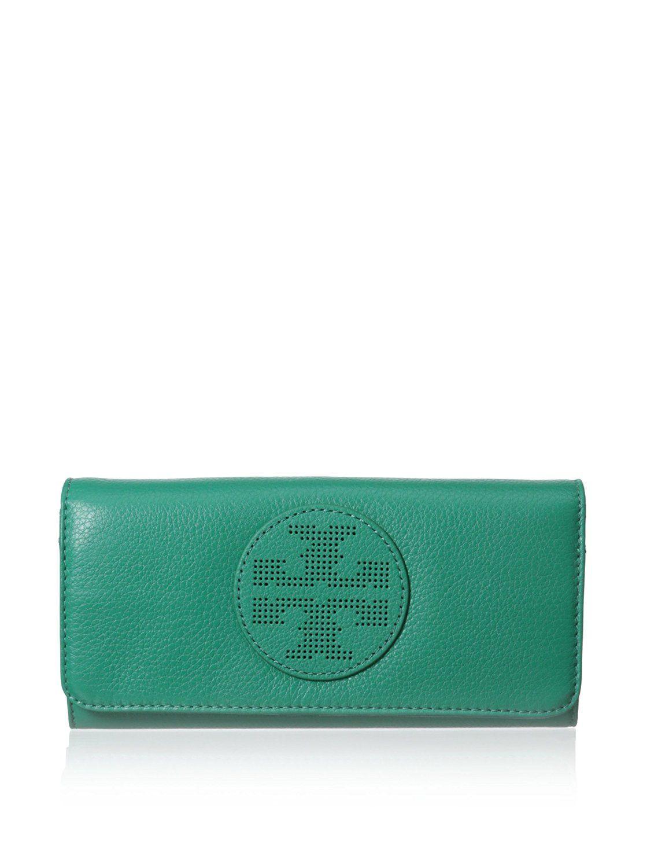 325649b9945d Tory Burch Kipp Envelope Continental Leather Wallet in Viridian ...