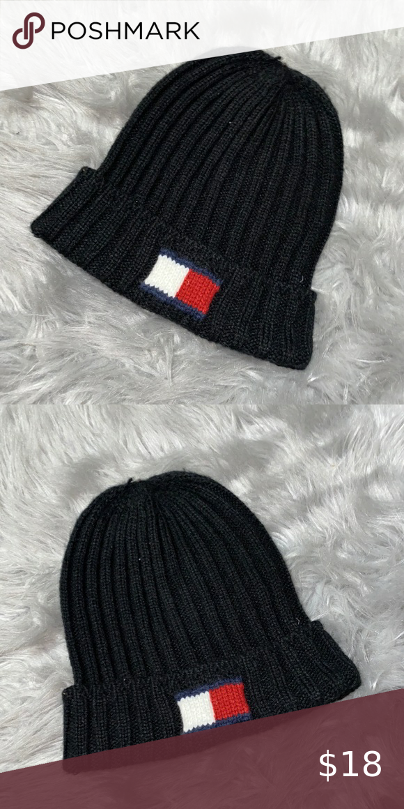 Tommy Hilfiger Logo Womens Hat and Scarf Set HAT+SCARF Black Gray Red NWT