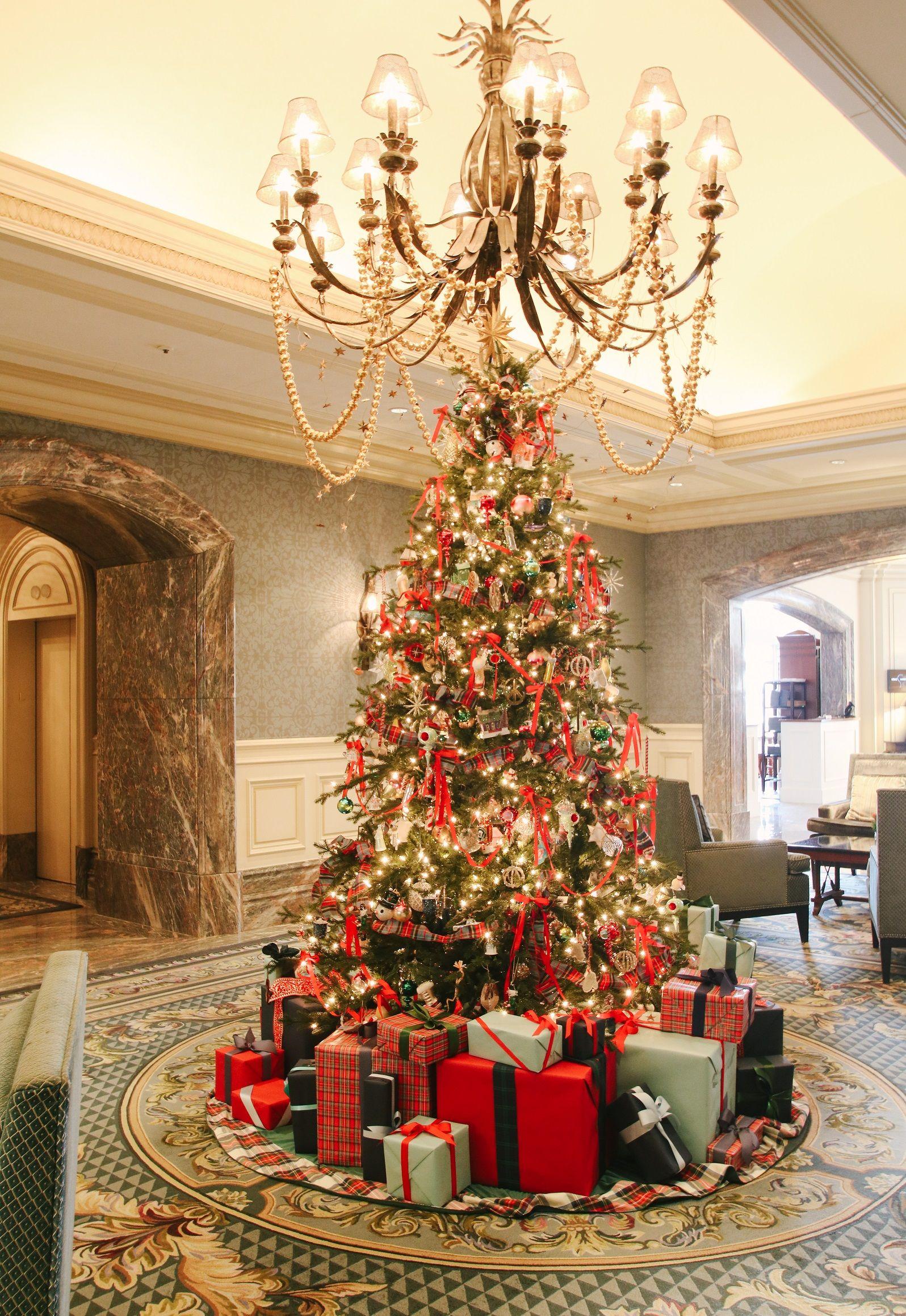 A classic Christmas tree at the Boston Harbor Hotel. Holiday decor ...