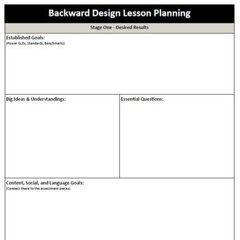 Backward Design - Lesson Plan Template fourth grade Lesson plan