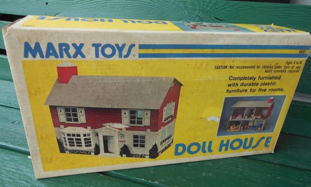 MARX ORIGNAL MODERN COLONIAL DOLLHOUSE FURNISHED W/ ORIGINAL BOX MANUAL NO. 4031 #Marx