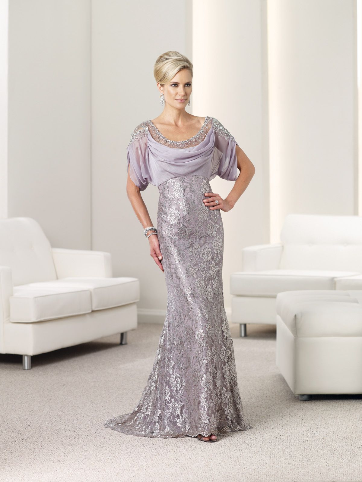 Lace and chiffon mermaid gown with front and back handbeaded
