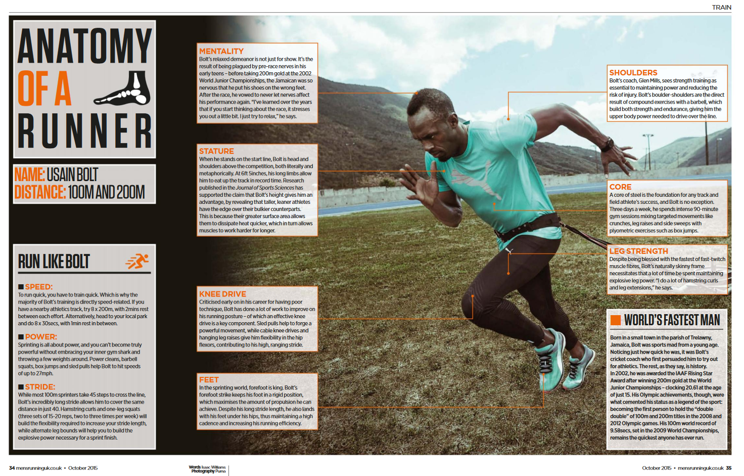 Anatomy of a runner (sprinter). Lots of compound strength exercises ...