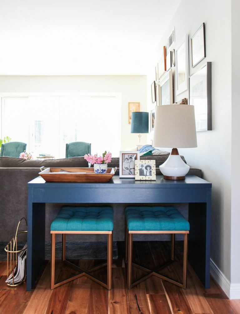 Benches Under Console Table Behind The Sectional Brilliant Can Be Used As Extra Seats In Dining Room