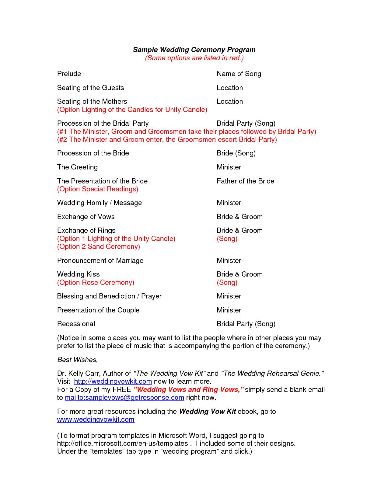 Wedding Program Outline Samples