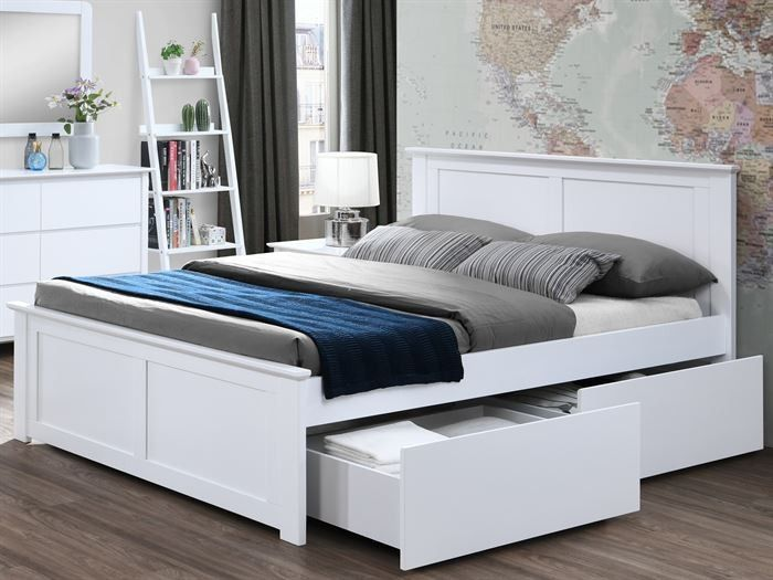 Coco White Queen Bed With 4 X Storage, White Queen Size Bed Frame With Drawers