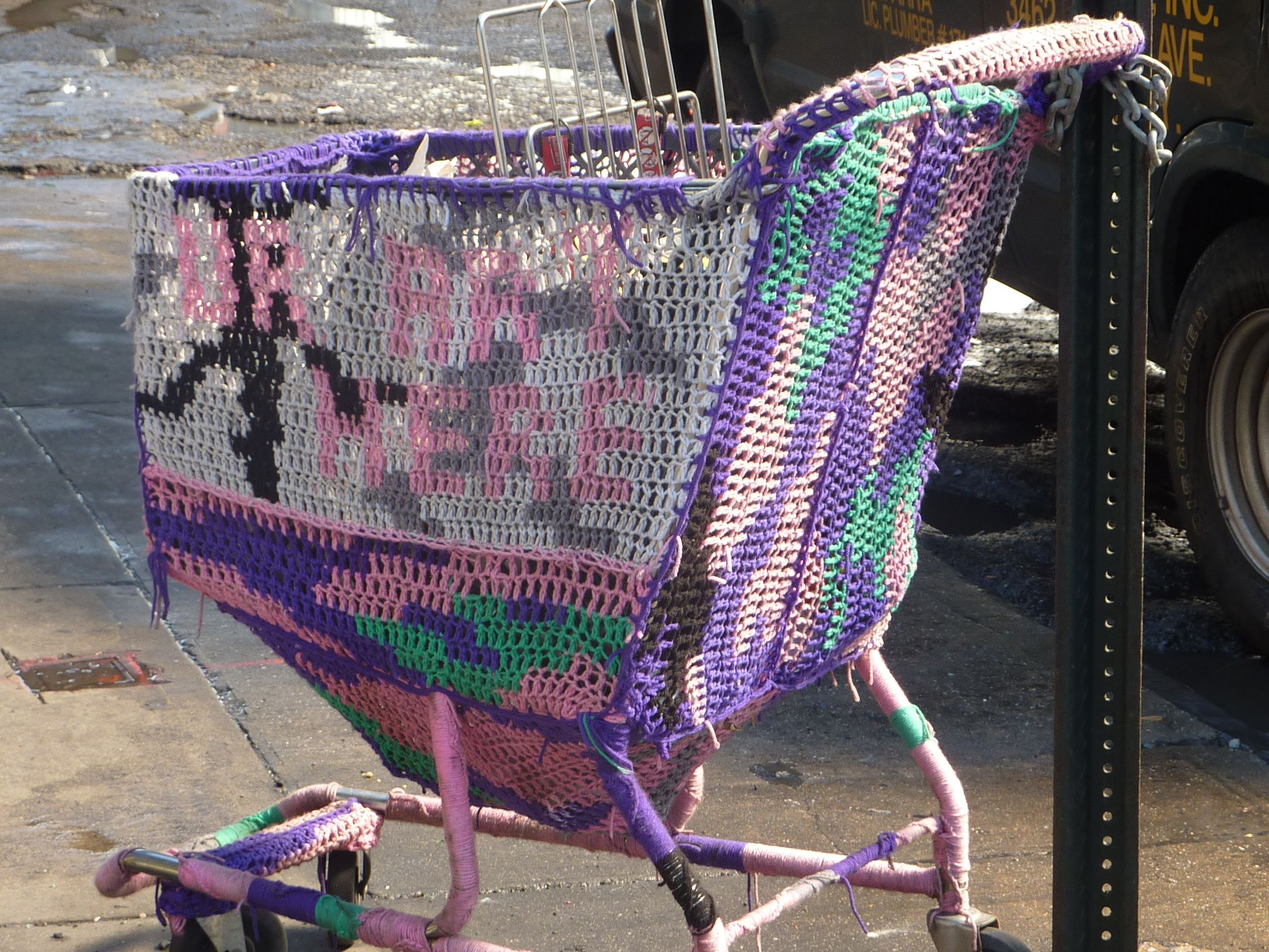 crocheted cart or piece of art? - Chelsea, NYC
