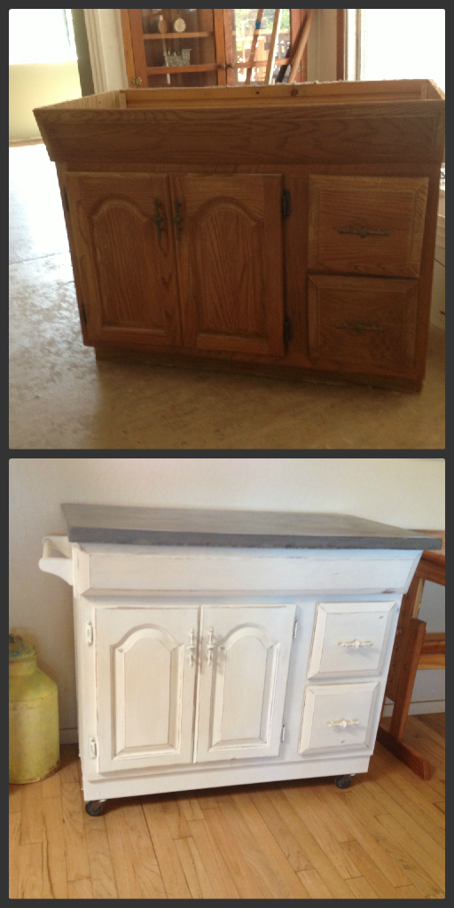 Take an old bathroom vanity and make a rolling kitchen - Using kitchen cabinets for bathroom vanity ...