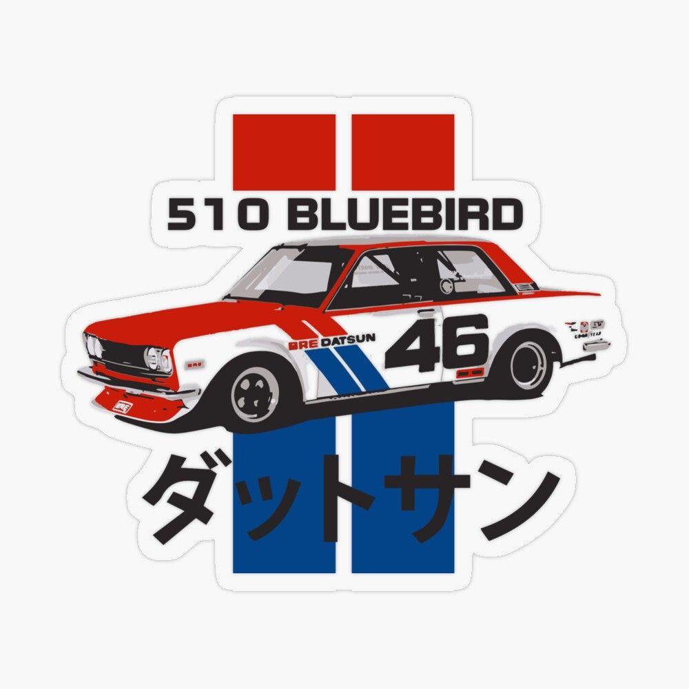 Vintage Datsun 510 Bluebird Race Car Transparent Sticker By Fromthe8tees Datsun 510 Datsun Racing Stickers [ 1000 x 1000 Pixel ]