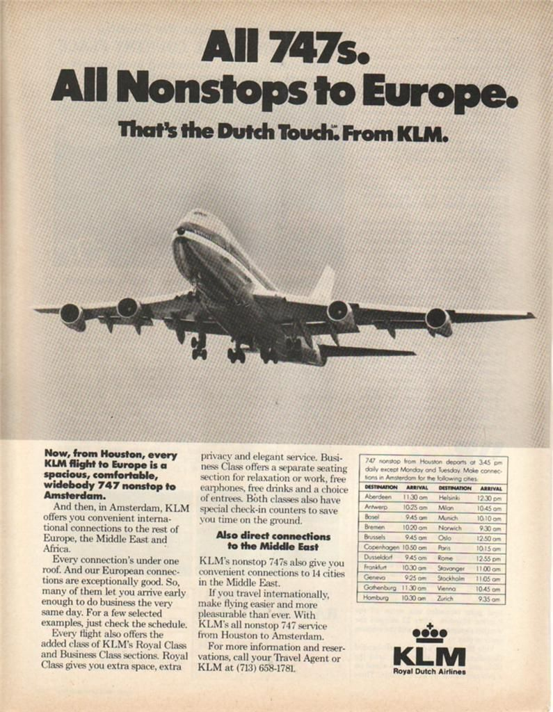 1980 KLM Airlines Magazine Ad. 747s Nonstop to Europe • £5