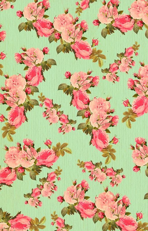 Mint Green Pink Floral Vintage Pattern Rustic Victorian Girly By Love999 Floral Background Floral Wallpaper Floral Art Vintage floral wallpaper hd free