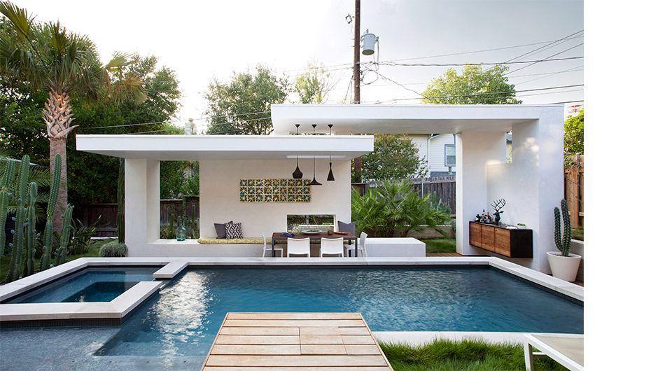 Moderne poolhouse in hout en crépi Bogarden Casa dolce casa Da