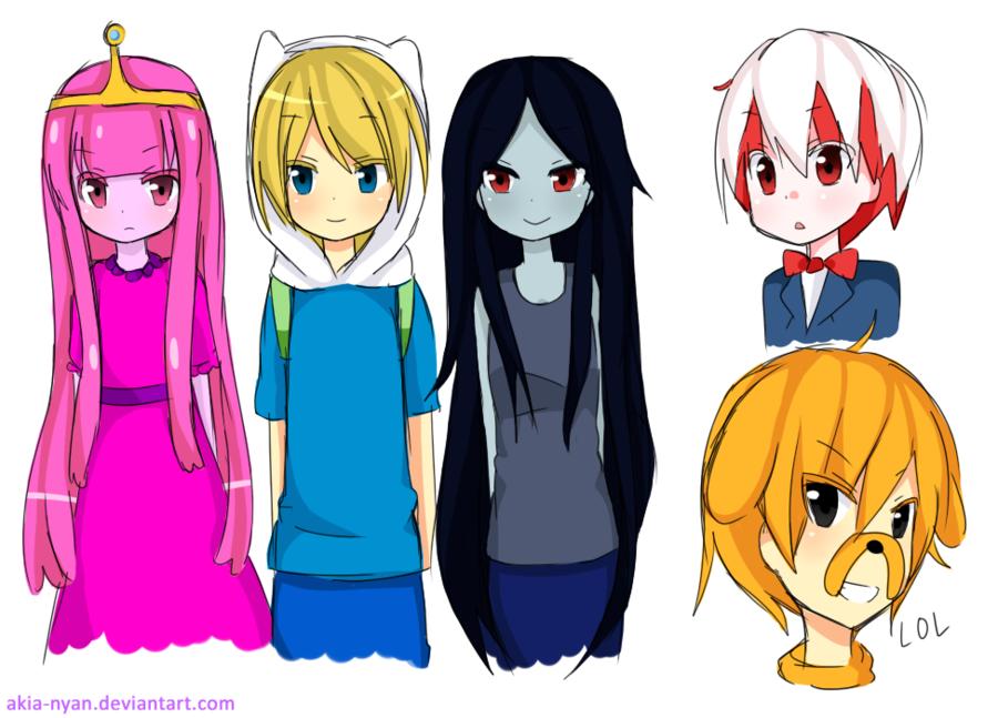 PB, Finn, Marceline, Peppermint Butler and Jake (LOL