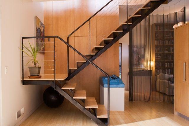 stahltreppe fur innen und aussen designs, stahltreppen treppenhaus modern-design geländer-stufen aus holz, Design ideen