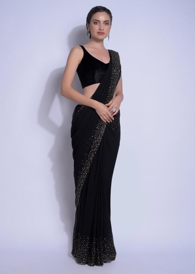 Photo of Ink Black  Saree In Georgette With Kundan Work On The Border And Pallu Online  K…