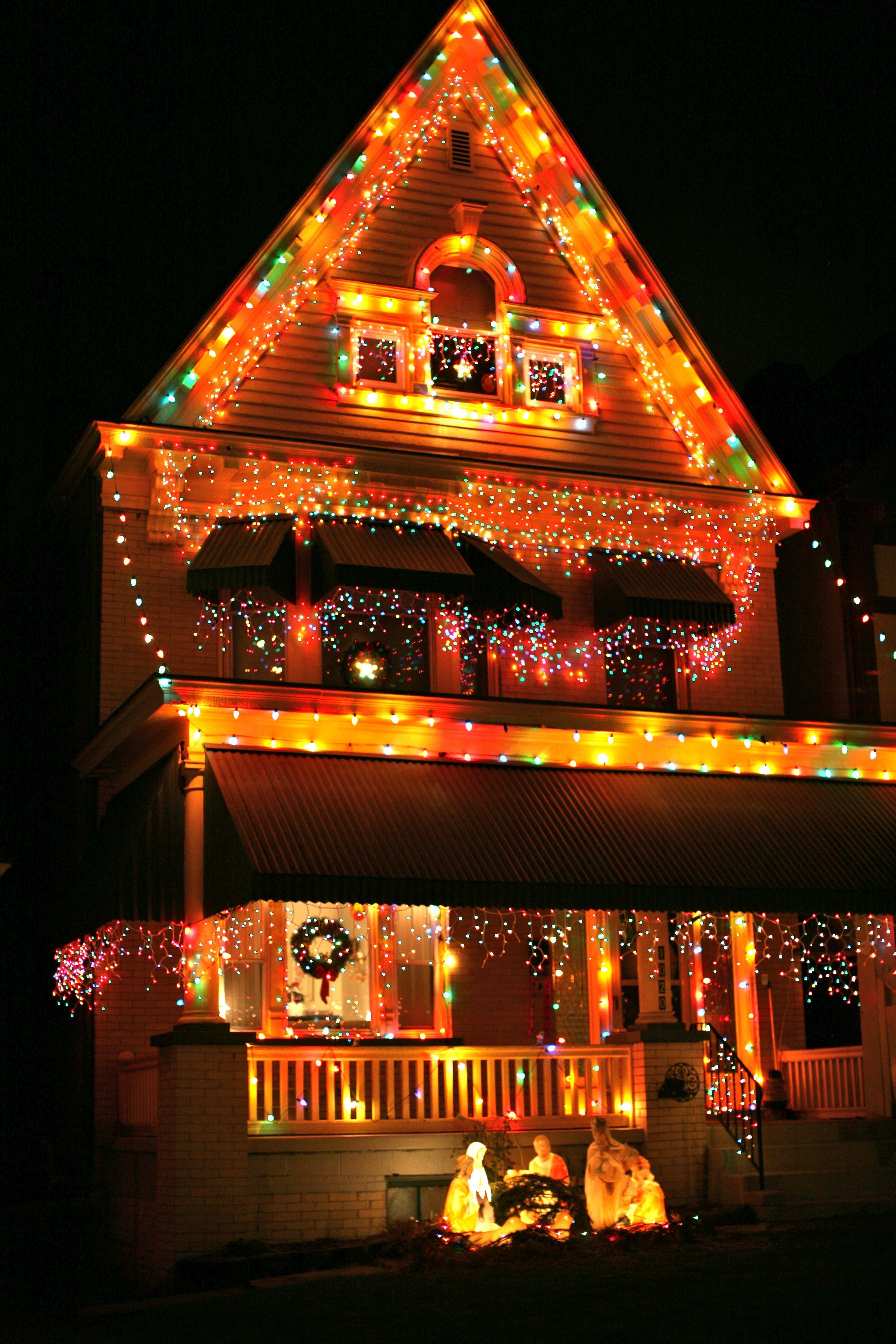 Christmas House Lights at Night Christmas house lights