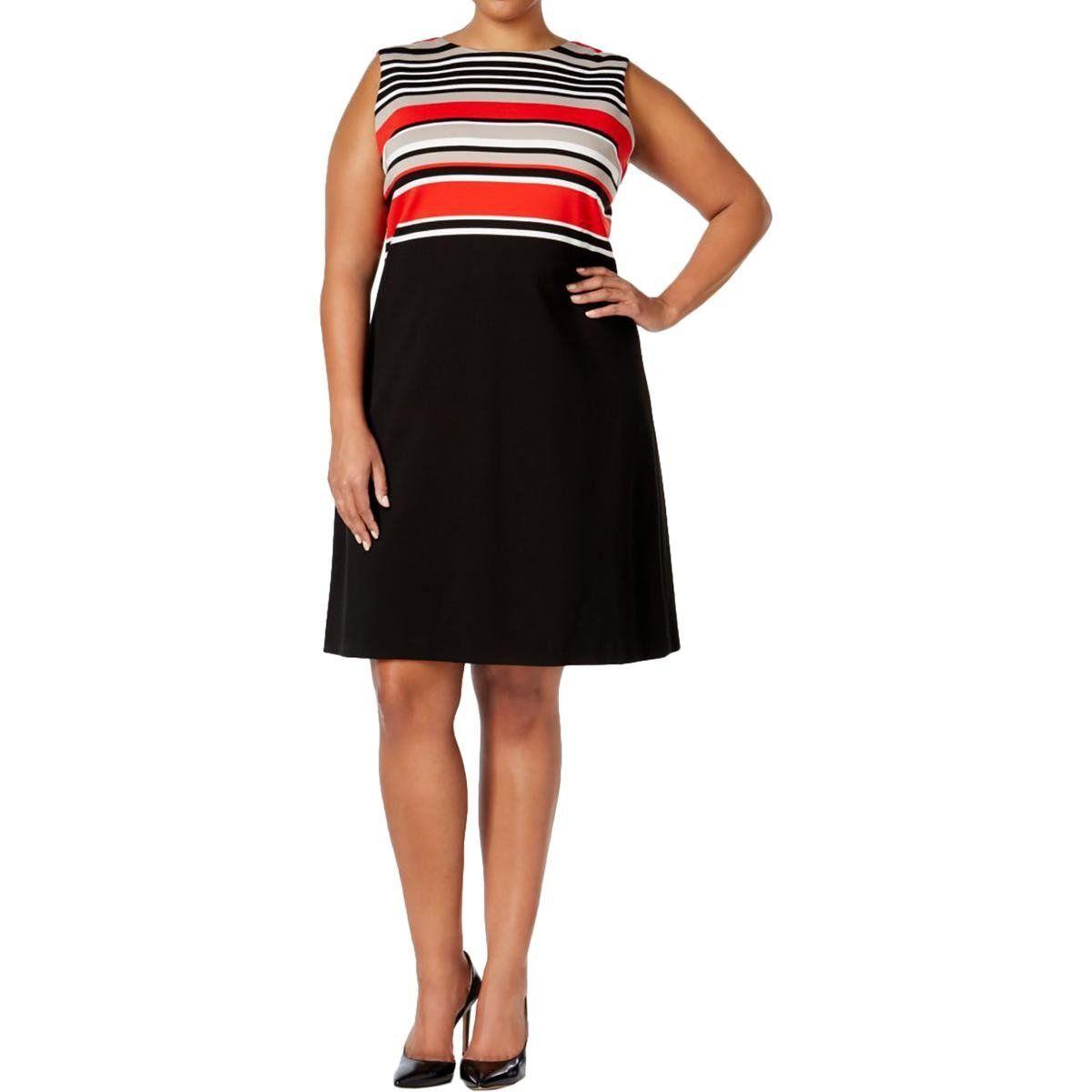Calvin klein womens plus striped sleeveless wear to work dress