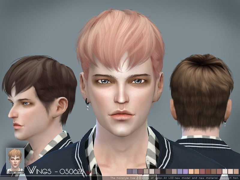 Wings Os0628 For The Sims 4 Men S Hairstyle By Wingssims Available At The Sims Resource Download This Hair Style Has 20 Kinds Of C Sims 4 Hair Male Sims Sims 4