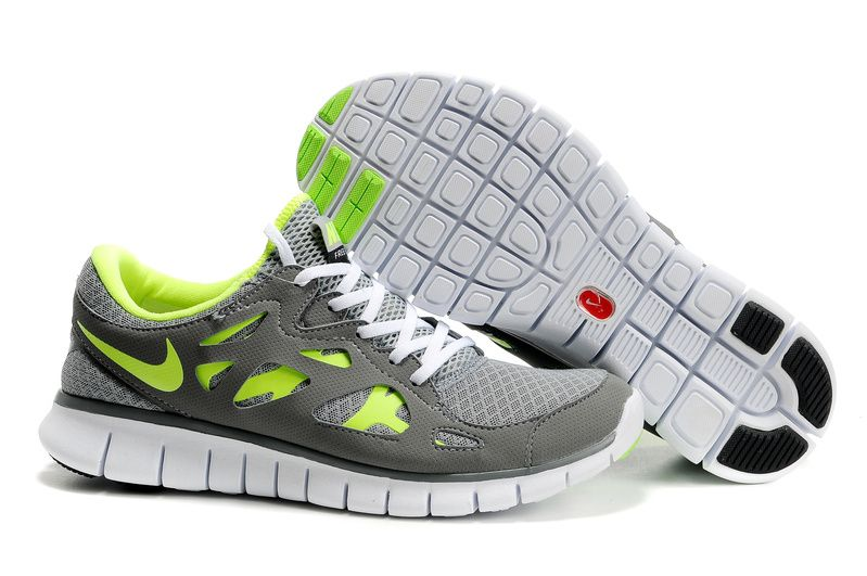 a8d9bf0cac1287 http   www.cheapshoeshub.com Mens Nike Free Runs 2 Grey Green Shoes ...