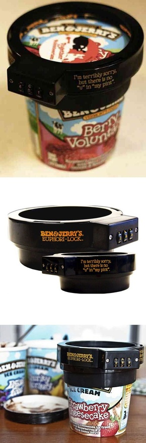 The Ben and Jerrys pint lock... I need someone to buy this to stop ME from eating it!