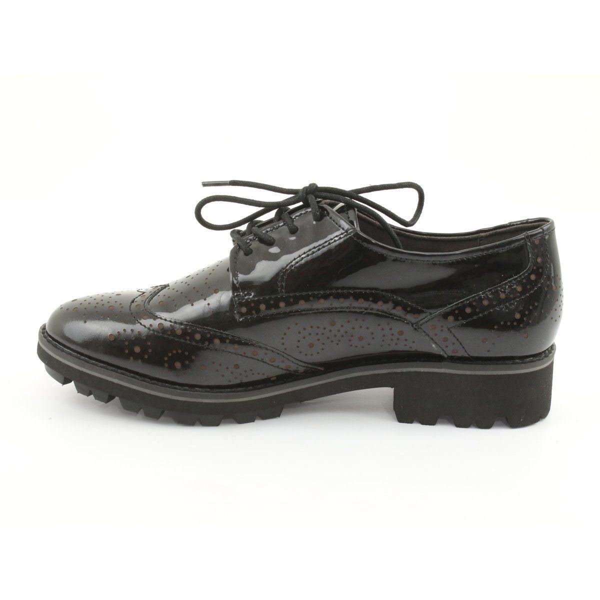 Oksfordki Polbuty Sznurowane Caprice 23701 Czarne Wielokolorowe Women Shoes Oxford Shoes Lace Up Shoes
