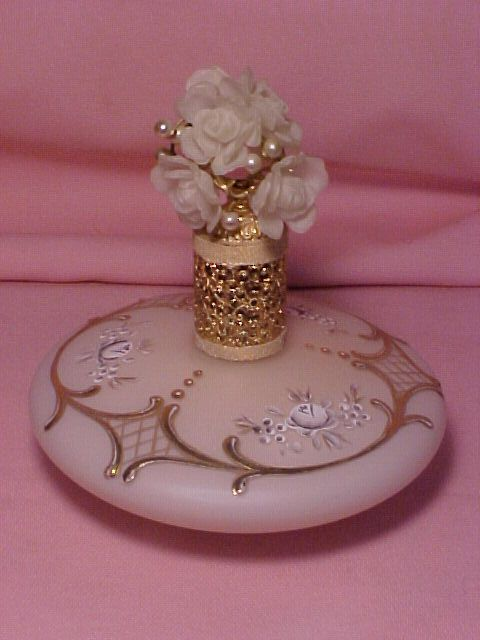 West Germany IRICE Perfume Bottle Jeweled Top White Roses♥.•:*´¨`*:•♥Pearls Pink Satin GOLD