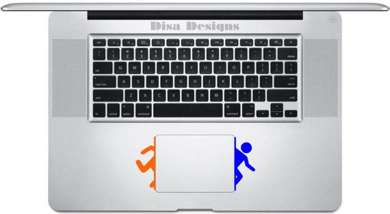 Portal inspired vinyl decals for the Macbook by DisaDesigns on etsy