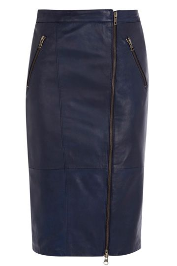 Zip Leather Pencil Skirt