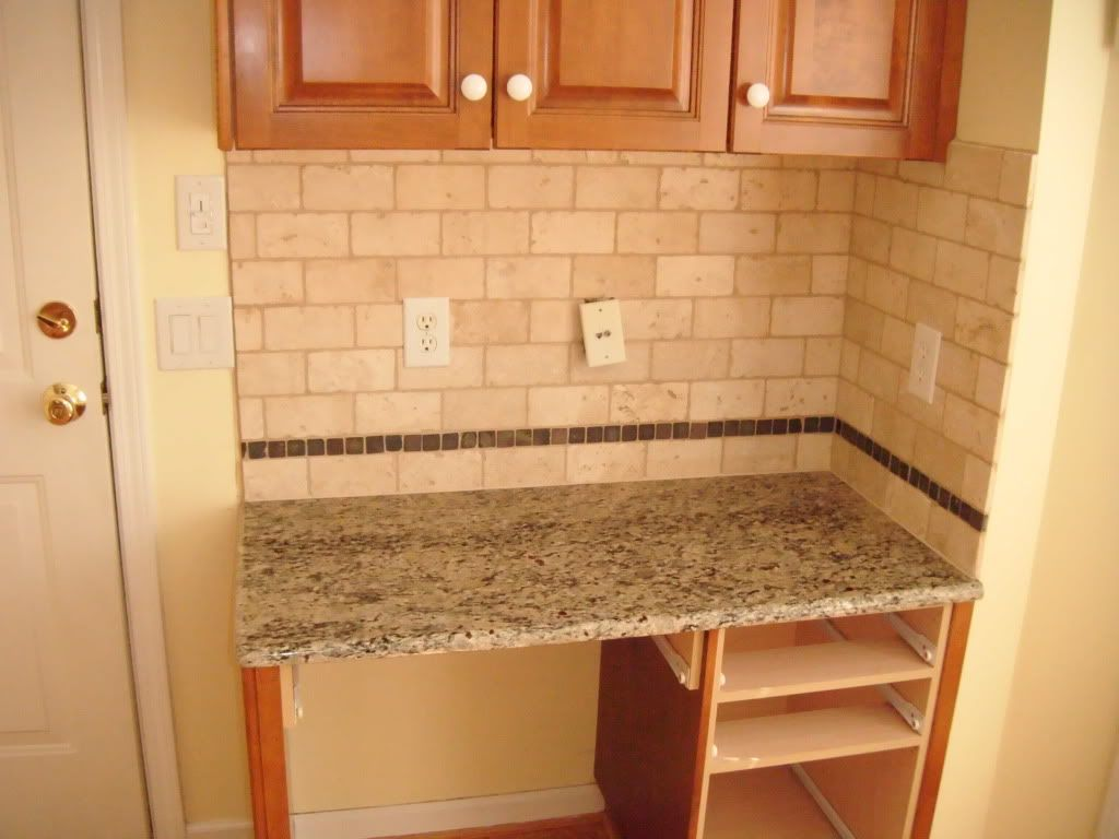 Kitchen, : Charming Small Kitchen Decoration With Cream Granite Counter  Tops Along With Rectangular Beige Subway Tile Kitchen Backsplash And Light  Oak Wood ...