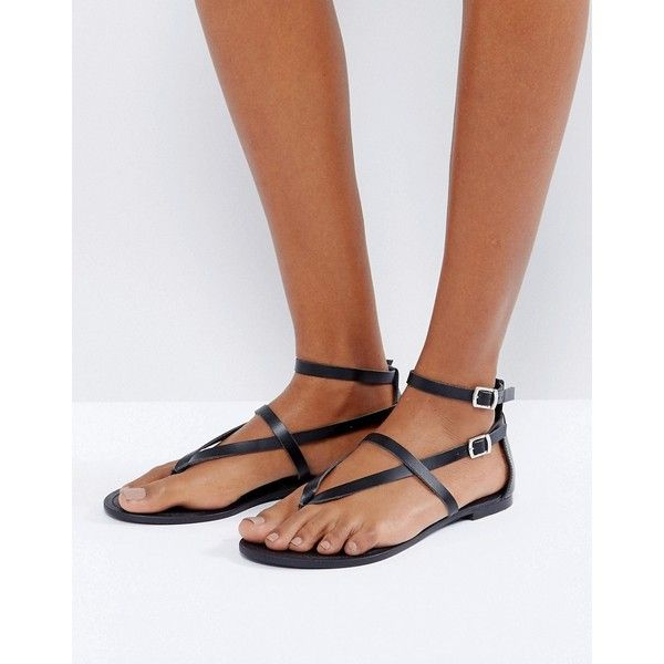 ASOS FORCEFUL Leather Flat Sandals ($27) ❤ liked on Polyvore featuring shoes,  sandals