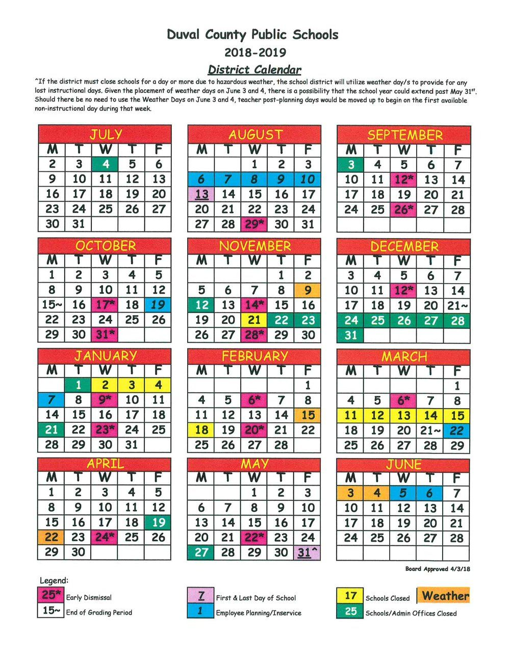 Duval County School Calendar For 2019 Duval County School Calendar   You Calendars | new in 2019