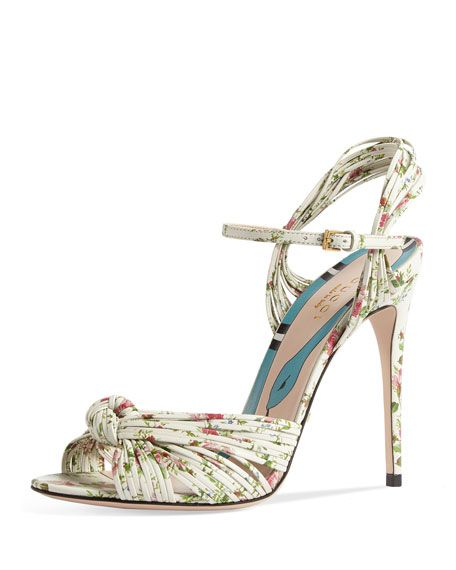 af0ace01adc7 Gucci Allie Floral-Print Leather Sandal