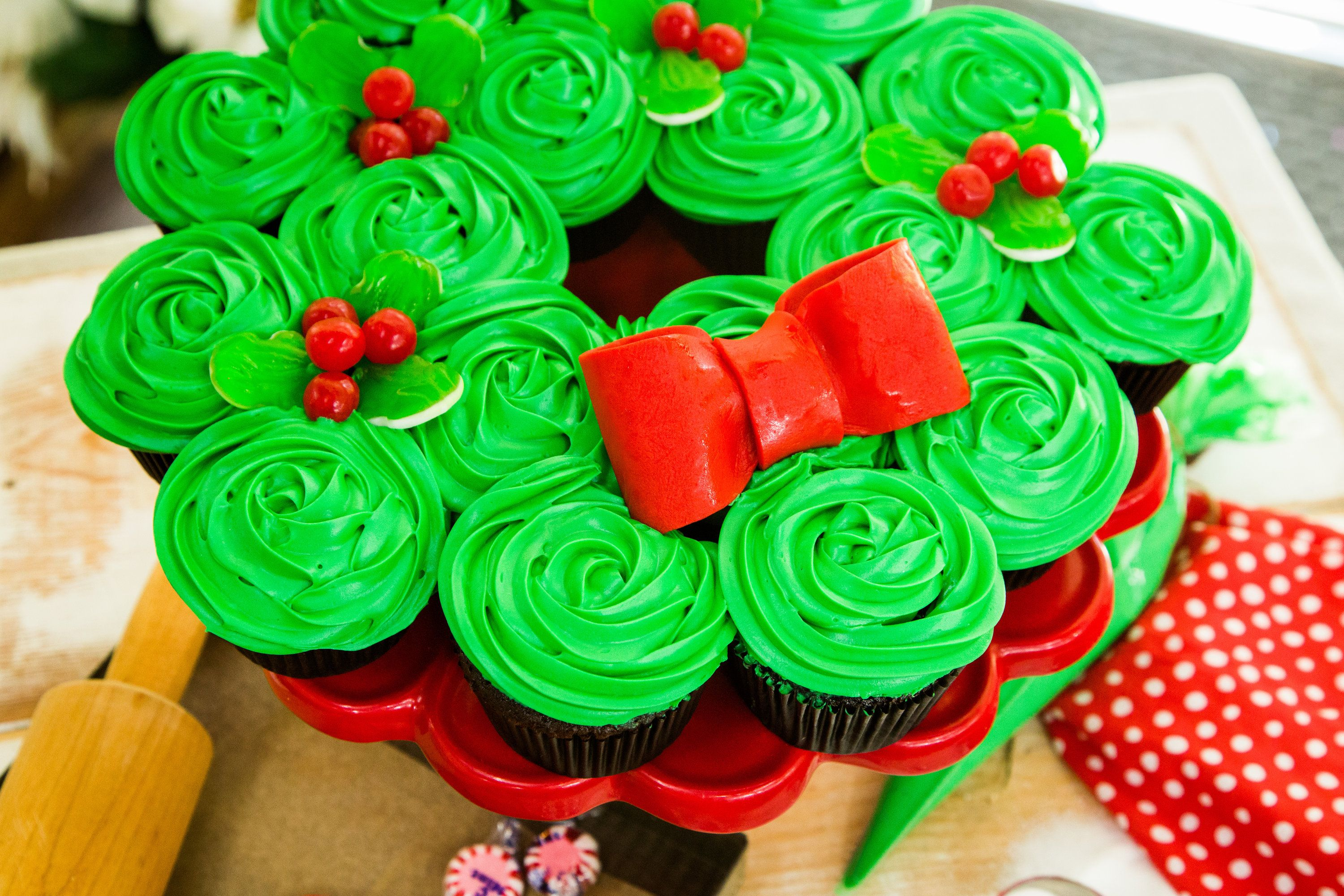 Christmas Wreath Cupcakes By Pastry Chef Elise Strachan - Recipe