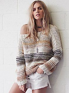 Awash in Stripes Pullover. Big, comfy, loose-knit sweat in neutral colors <3