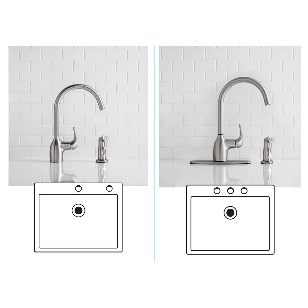 Essie Single-Handle Standard Kitchen Faucet with Side Sprayer in ...