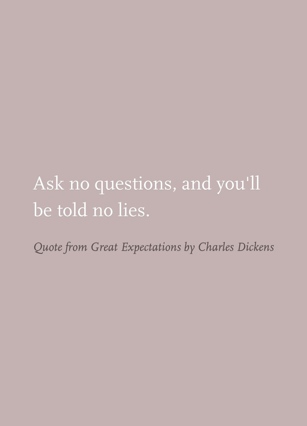Example quote Quote from Great Expectations by Charles Dickens Said by Magwich to Pip