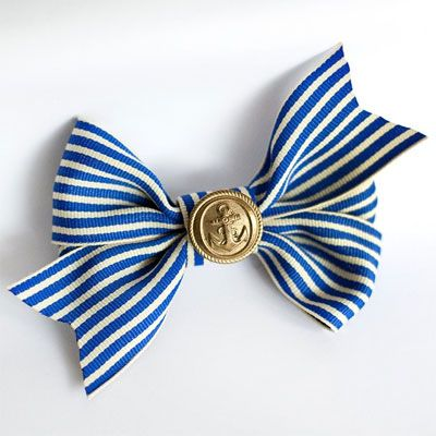 striped bow with vintage anchor button